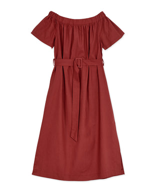 OFF SHOULDER BELTED DRESS
