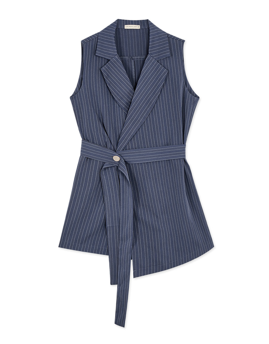 SLEEVELESS STRIPED TUXEDO PLAYSUIT