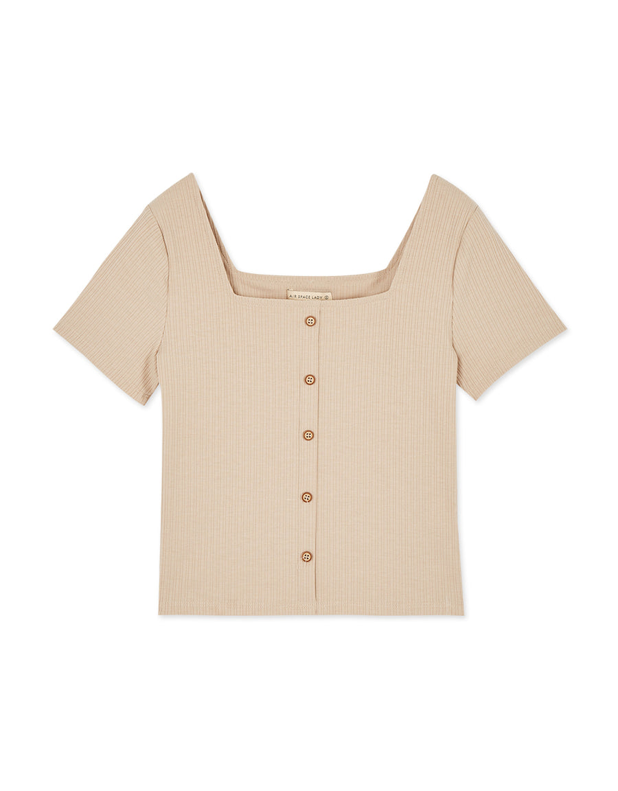 Vintage Style Square Neck Button Knitted Top