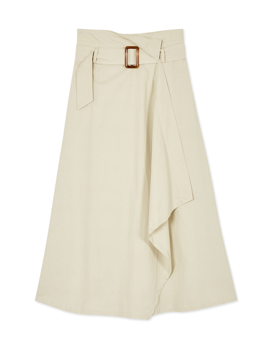 One Piece Textured Split Skirt (With Belt)