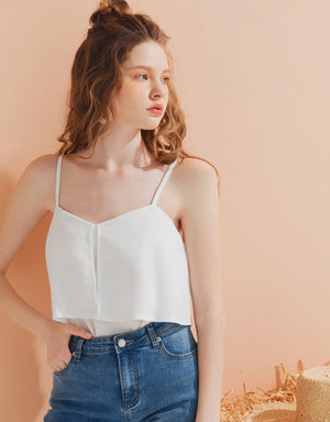 Chiffon Ruffle Thin Strap Top