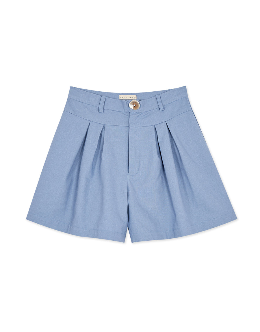 High waisted Textured Pleated Shorts