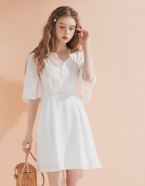 Button Up V Neck Dress