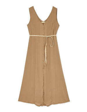V Neck Button Up Sleeveless Dress