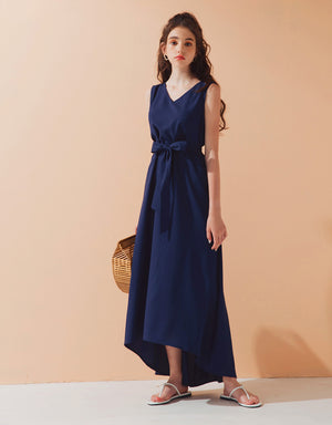 Sleveeless V Neck Tie Dress