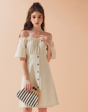 Off Shoulder Button Up Dress