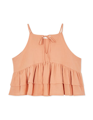 Double Layer Ruffle Halter Top