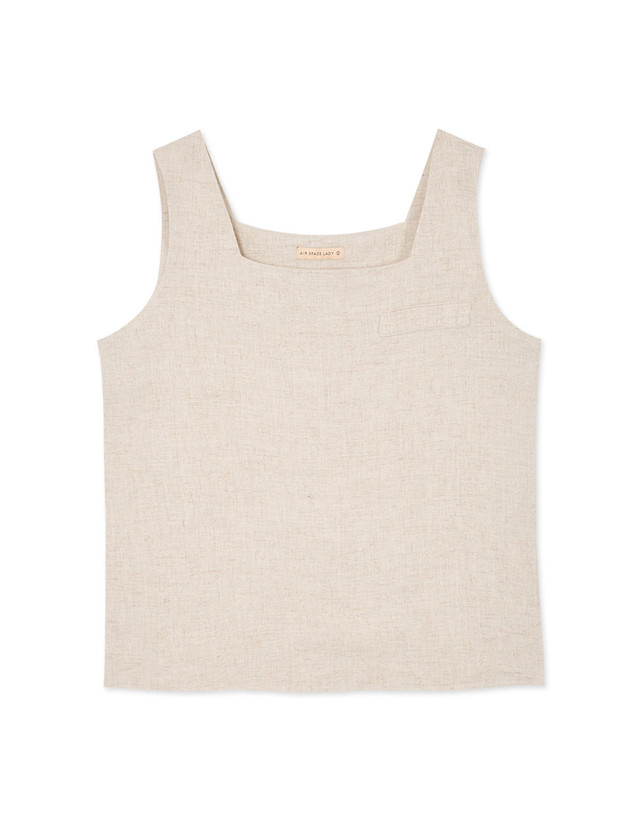 Wide Strap Square Neck Linen Sleeveless