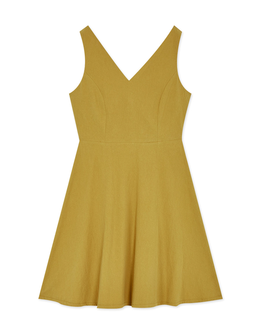 Textured V-Neck Knot Back Sleeveless Dress