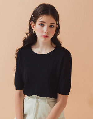 Round Neck Knitted Crop Top
