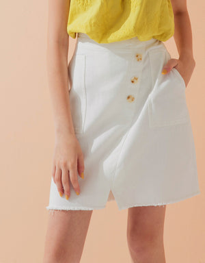 Asymmetrical Button Up Short Skirt