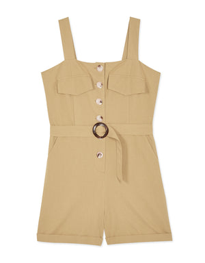 Button Up Belted Playsuit