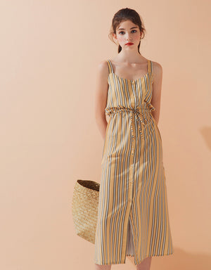 Thin Strap Button Up Drawstring Striped Dress