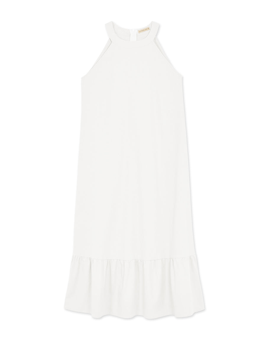 Round Neck Halter Ruffle Dress