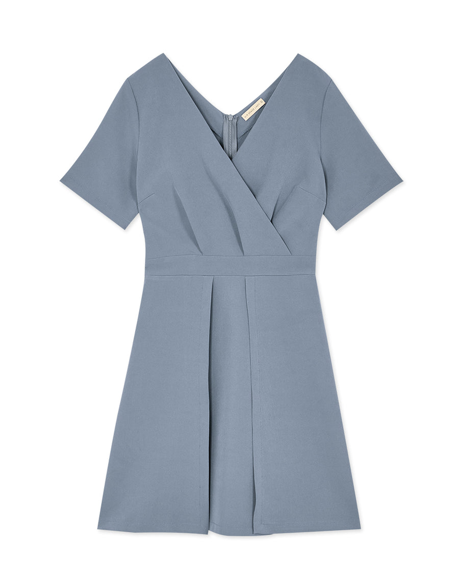 Cross V-Neck Short-Sleeved Dress