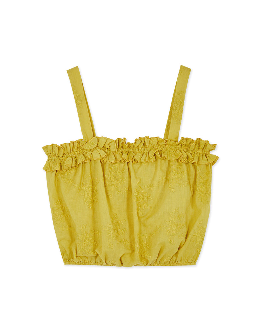Ruffle Splice Embroidered Stretch Waist Cami Top