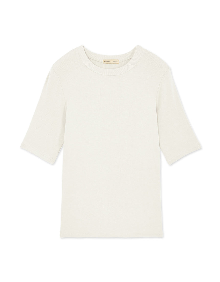 Wild Round Neck Five-Point Sleeve Ribbed Top