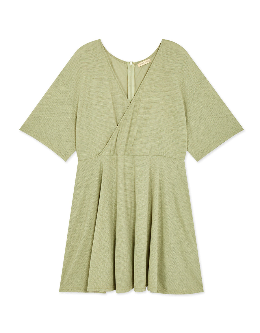 CROSS WRAP CREASED DRESS