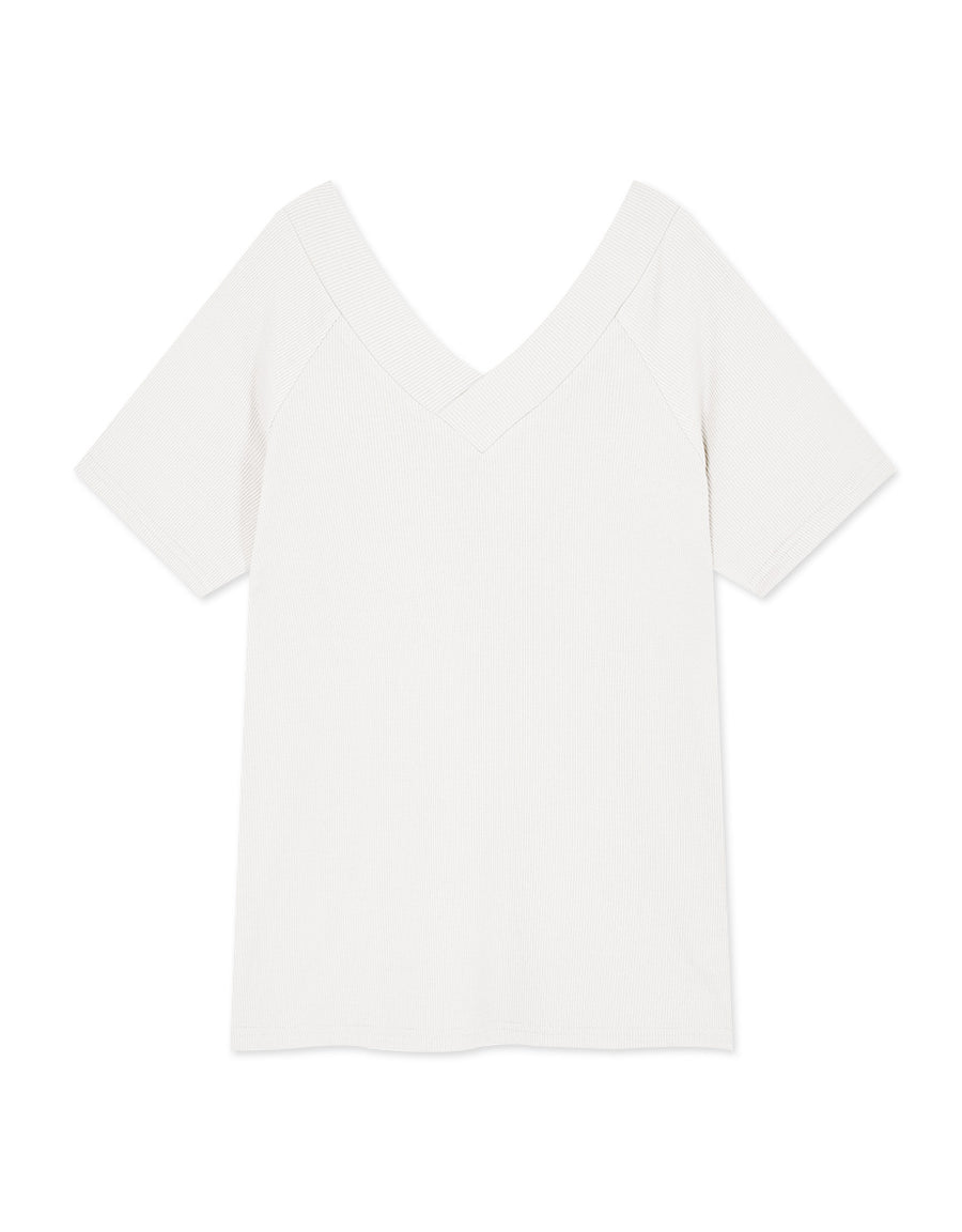 Minimalist V-Neck  Ribbed Top