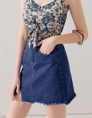 Slit Frayed Hem A-Line Denim Skirt