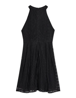 Hollow Front Halter Lace Dress