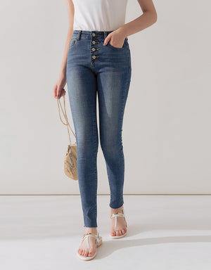 Button-Up Frayed Hem Denim Jeans
