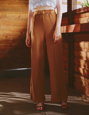 Ribbed Belted Wide Leg Pants