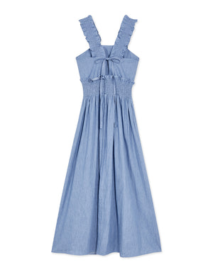 Shirred Denim Dress