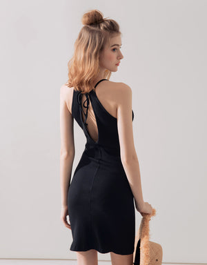 Hollow Back Knot Ribbed Halter Dress