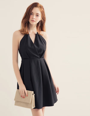 Pearl Metal Ring Flare Dress