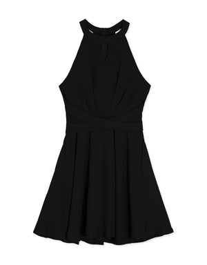 CROSS STRAP KEYHOLE HALTER FLARE DRESS