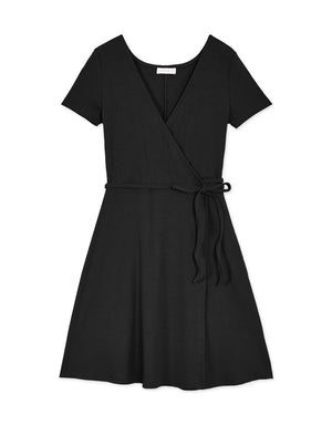 Ribbon Wrap Ribbed Flare Dress