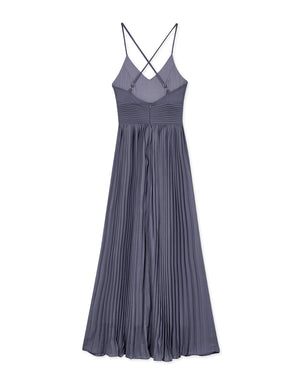 Sexy Deep-V  Cross Back Pleated Dress