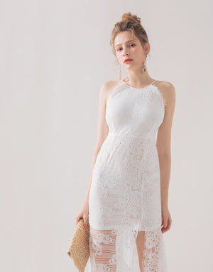 Eyelash Lace Halter Fishtail Slit Dress