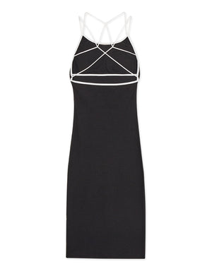 Cross Over Low Cut Knitted Bodycon Dress