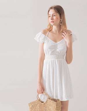 Broderie Lace Off Shoulder Dress