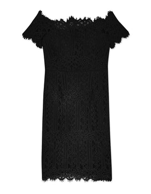 Off Shoulder Eyelash Lace Dress
