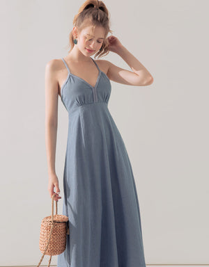 Denim Back Crossover Thin Strap Maxi Dress