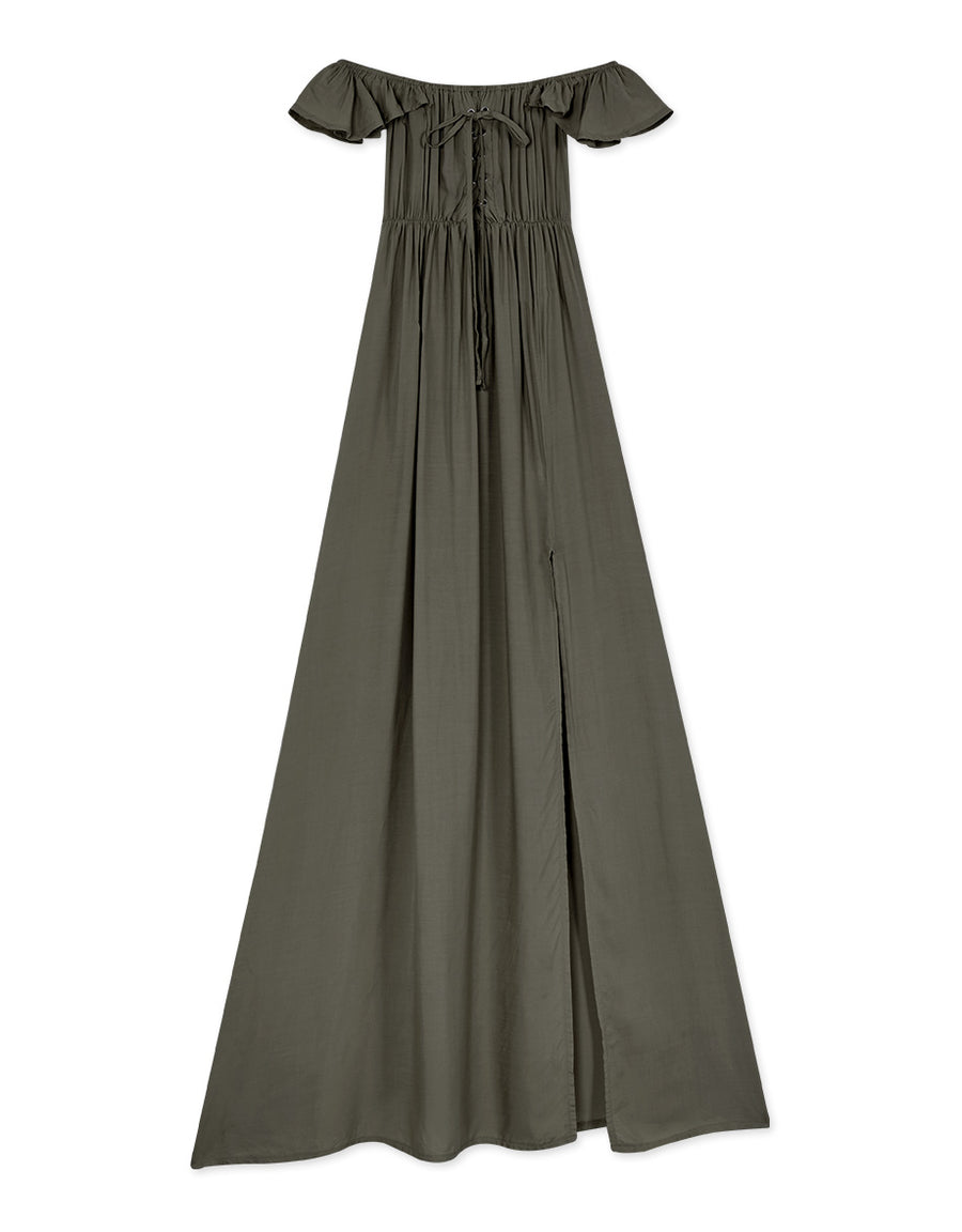 Vintage Square Neck Maxi Slit Dress