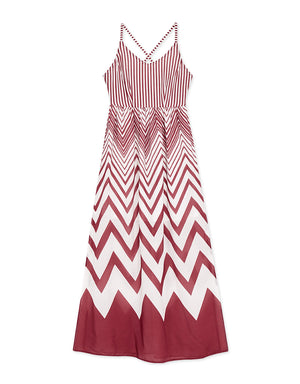 Striped Back Tie Up Slit Dress