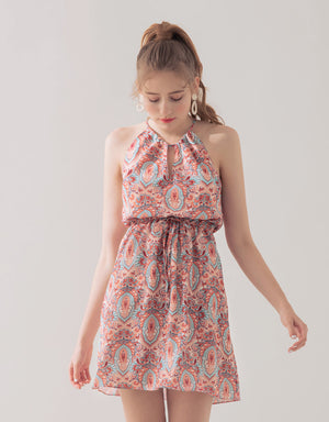 Printed Drawstring Halter Dress