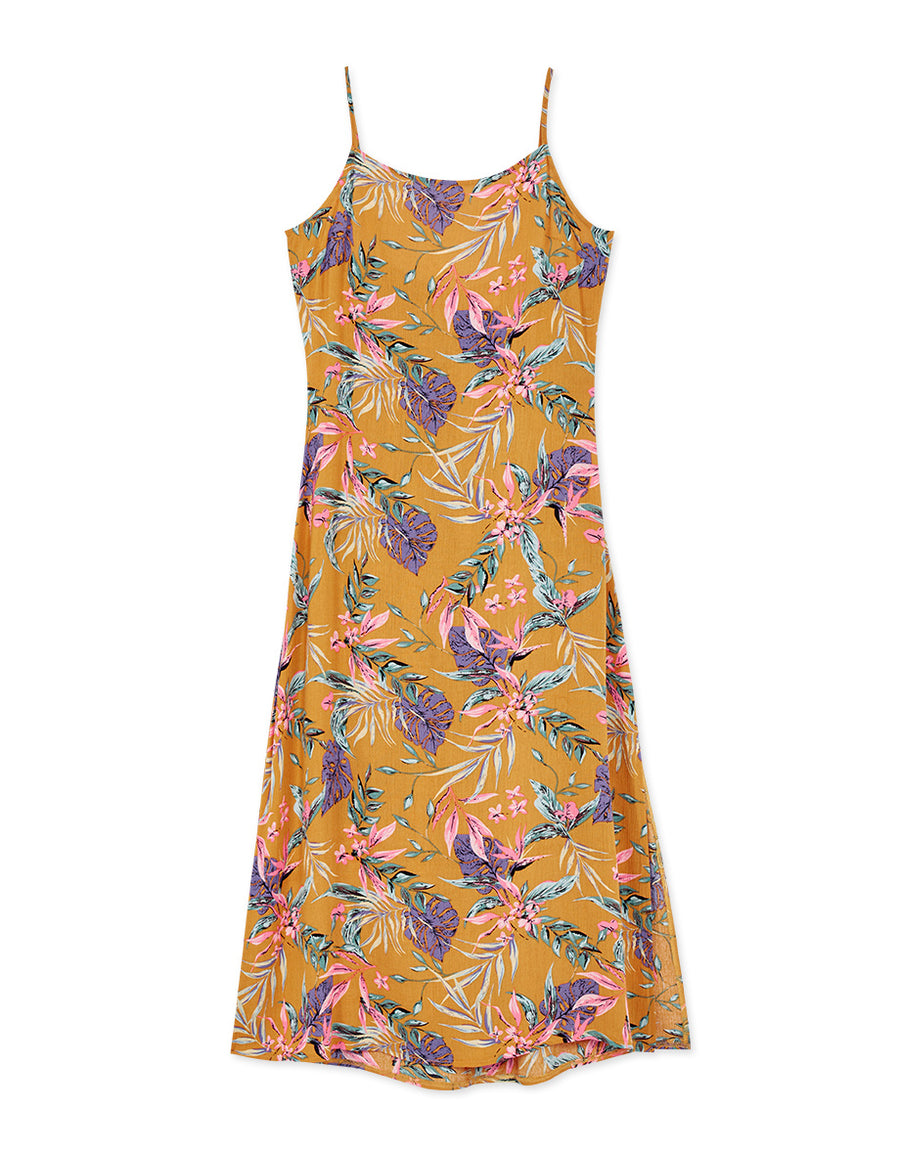Tropical Low Back Tie Maxi Dress
