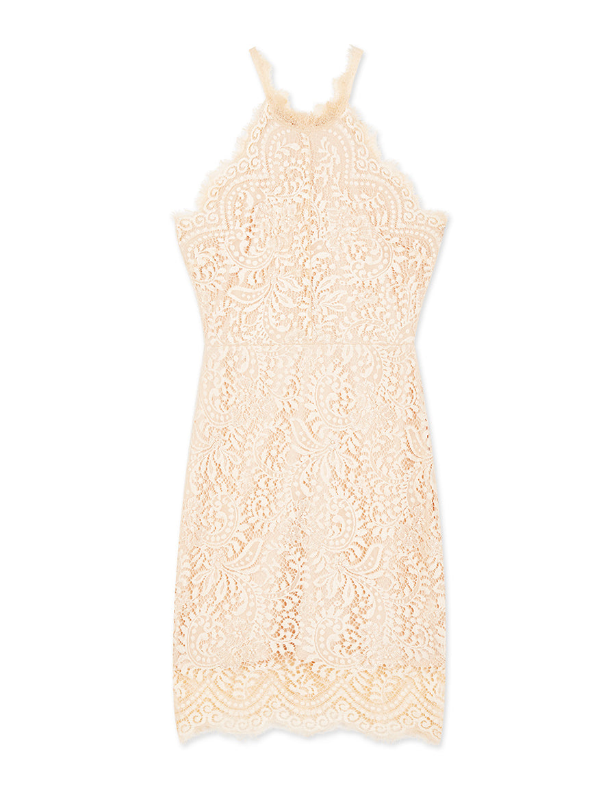 Eyelash Lace Halter Dress