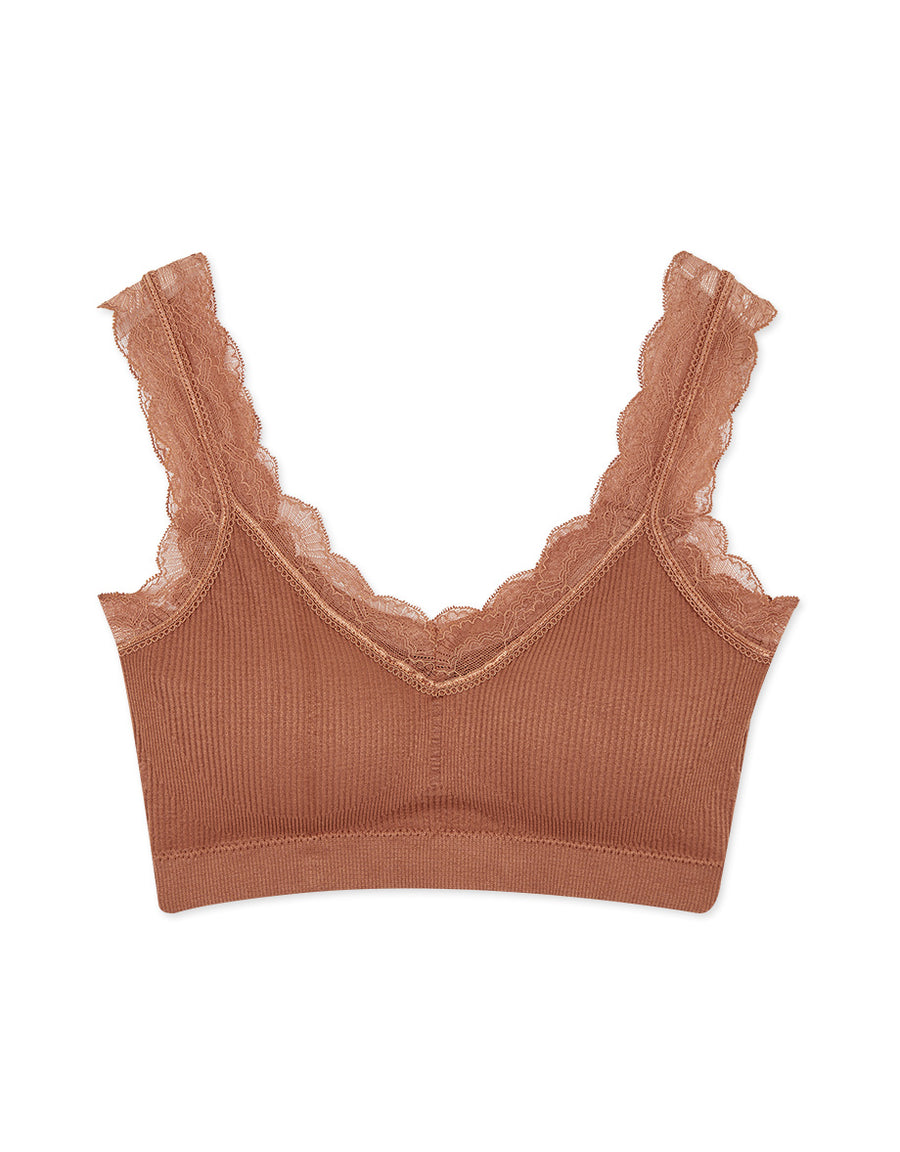 SEAMLESS RIBBED FLORAL LACE BRALETTE WITH DETACHABLE BRA PAD