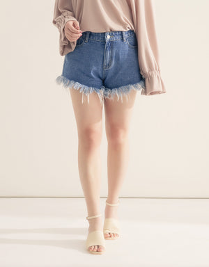 Distressed Denim Shorts in Washed Blue