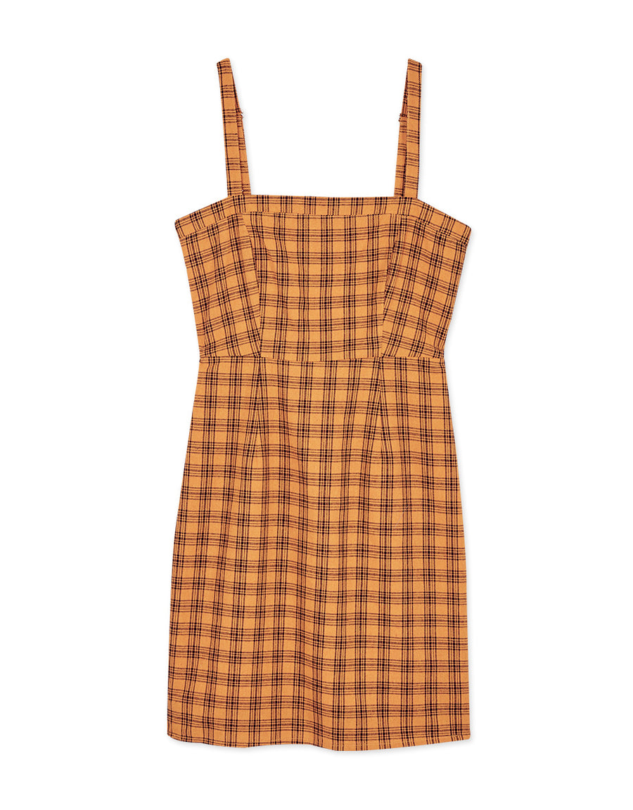 Fit Cut Plaid Overalls