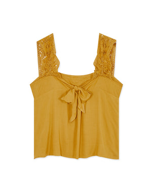LACE JACQUARD WIDE STRAP TOP