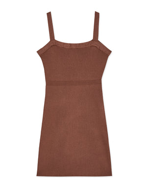 VINTAGE BUTTON RIBBED BODYCON DRESS