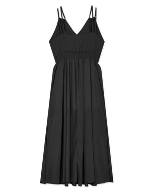 ELEGANT DOUBLE STRAPS CHIFFON MAXI DRESS