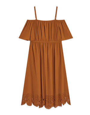 Cold Shoulder Elastic Waist Maxi Dress